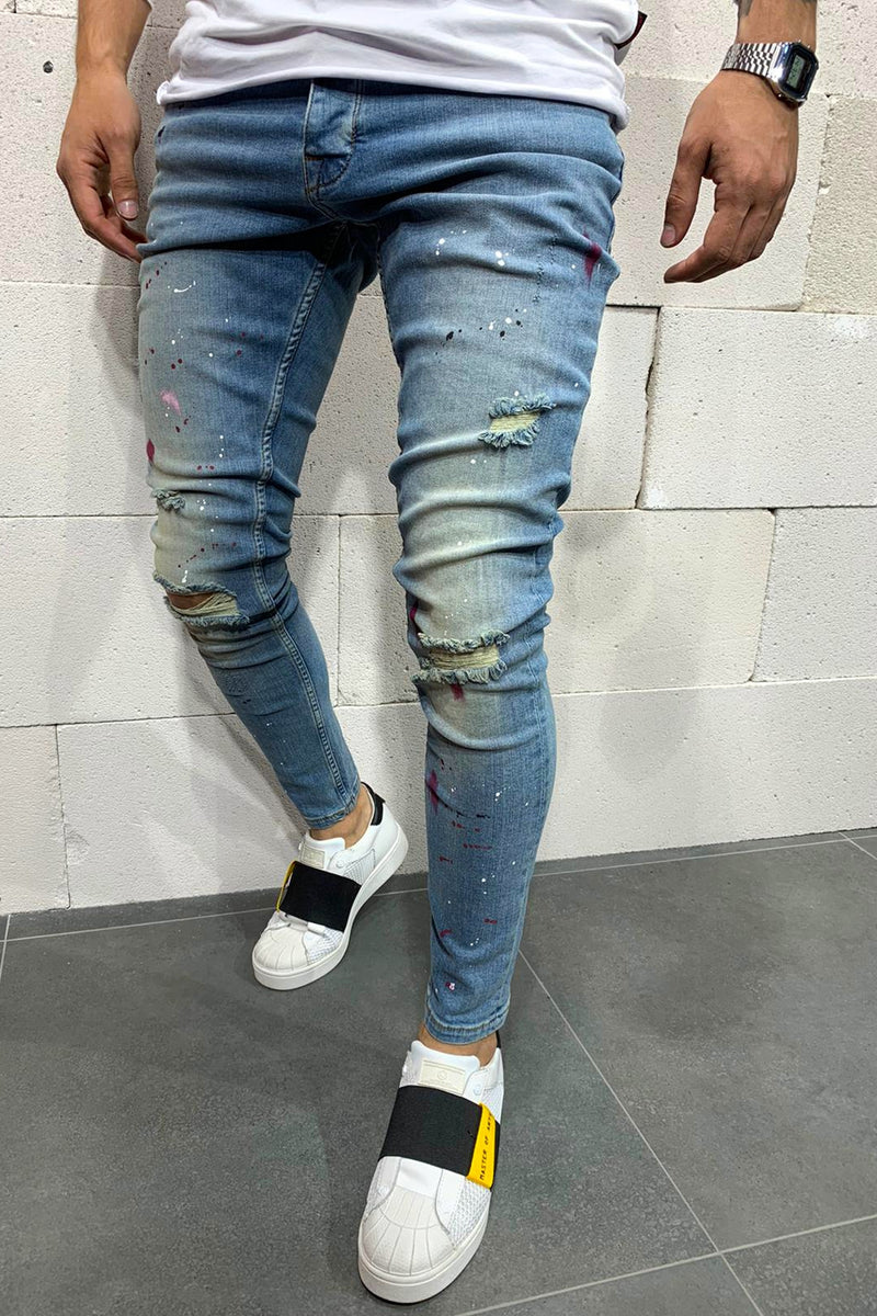 Men's Denim Destroyed Jeans Blue B4851