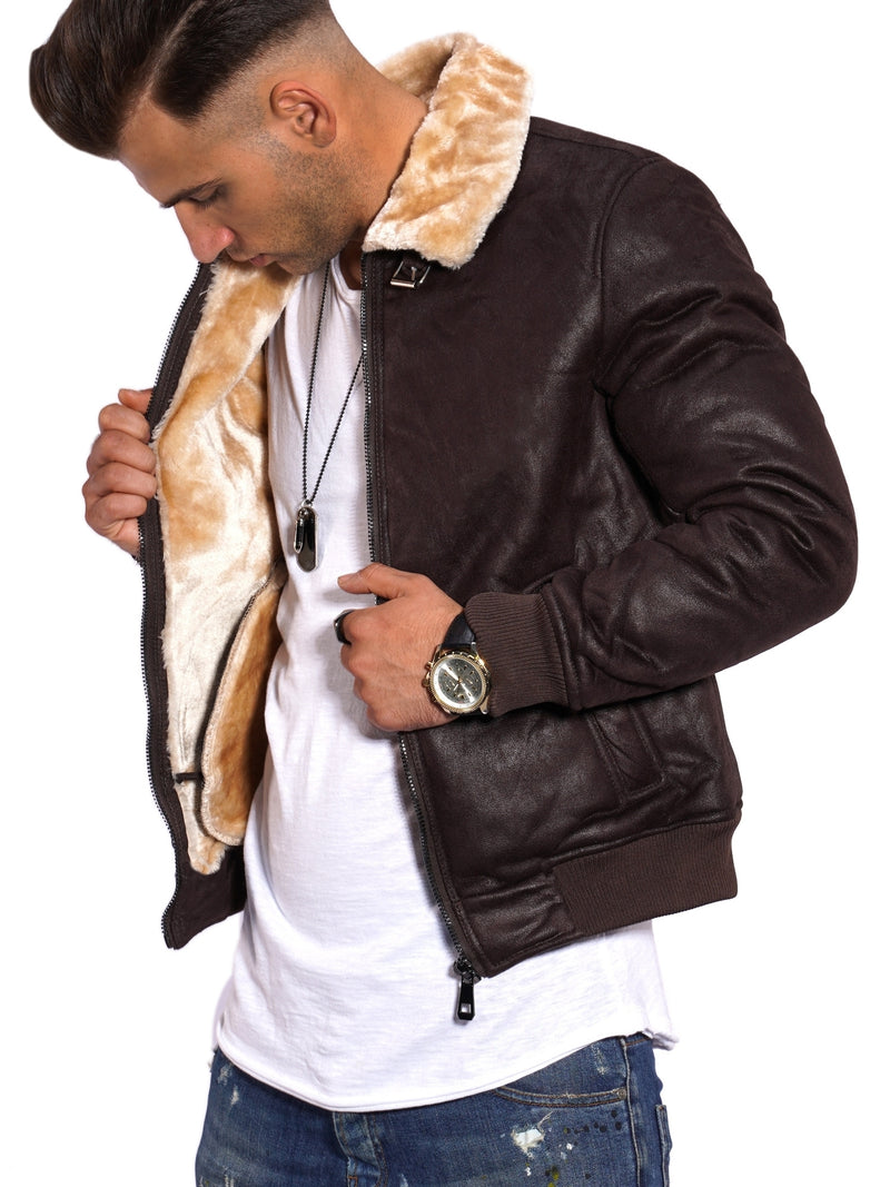 Men's PU Jacket Faux Leather Brown PH-923