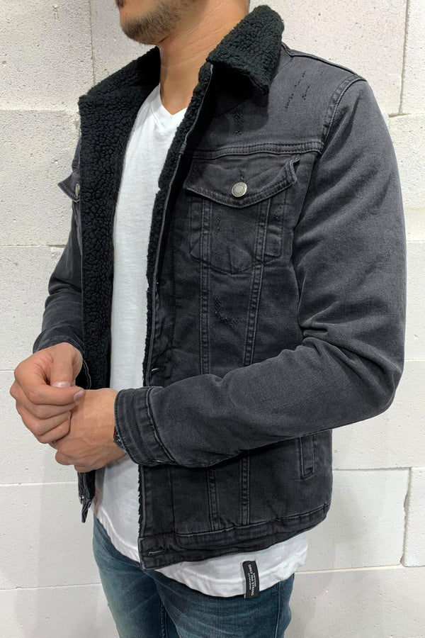 Men's Denim Teddy Fleece Jacket Black M4836