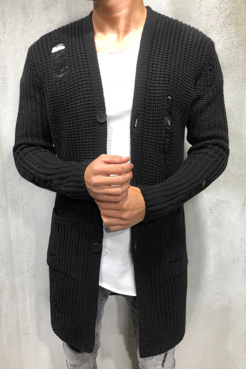 Men's Long Knit Cardigan Sweater Jacket Black 7027