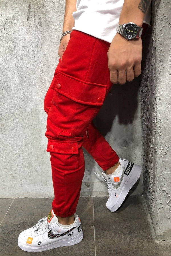 Men's Cargo Track Pants Sweatpants Red 5062