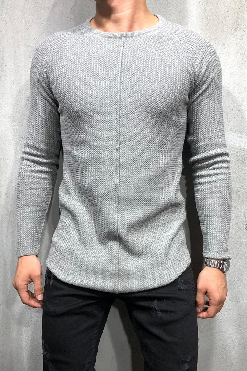 Men's Knit Sweater Pullover Grey 7006