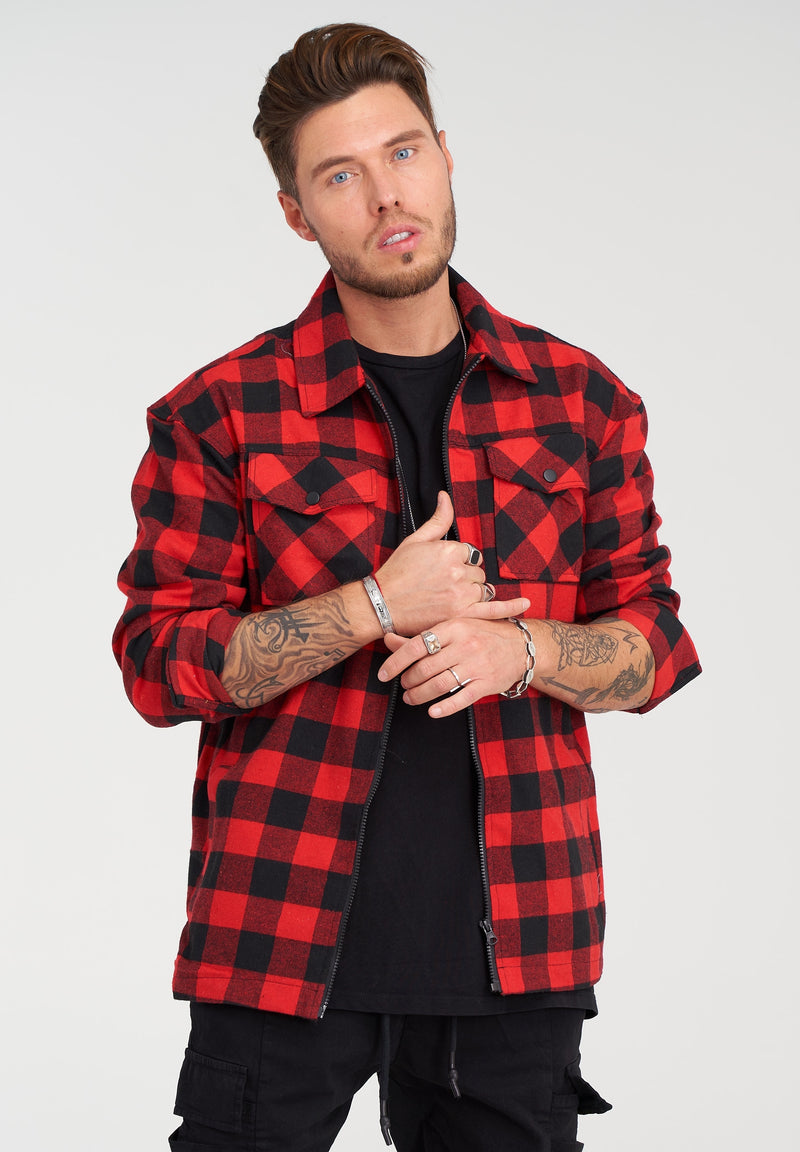 Checked Flannel Oversize Shirt Red 21851