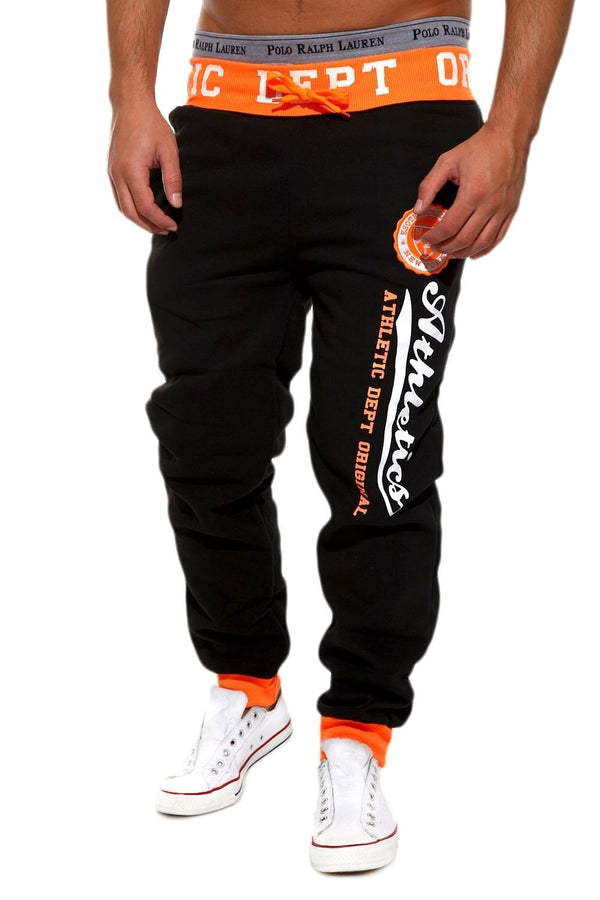 Men's Training Pants Sweatpants Black-Orange 49