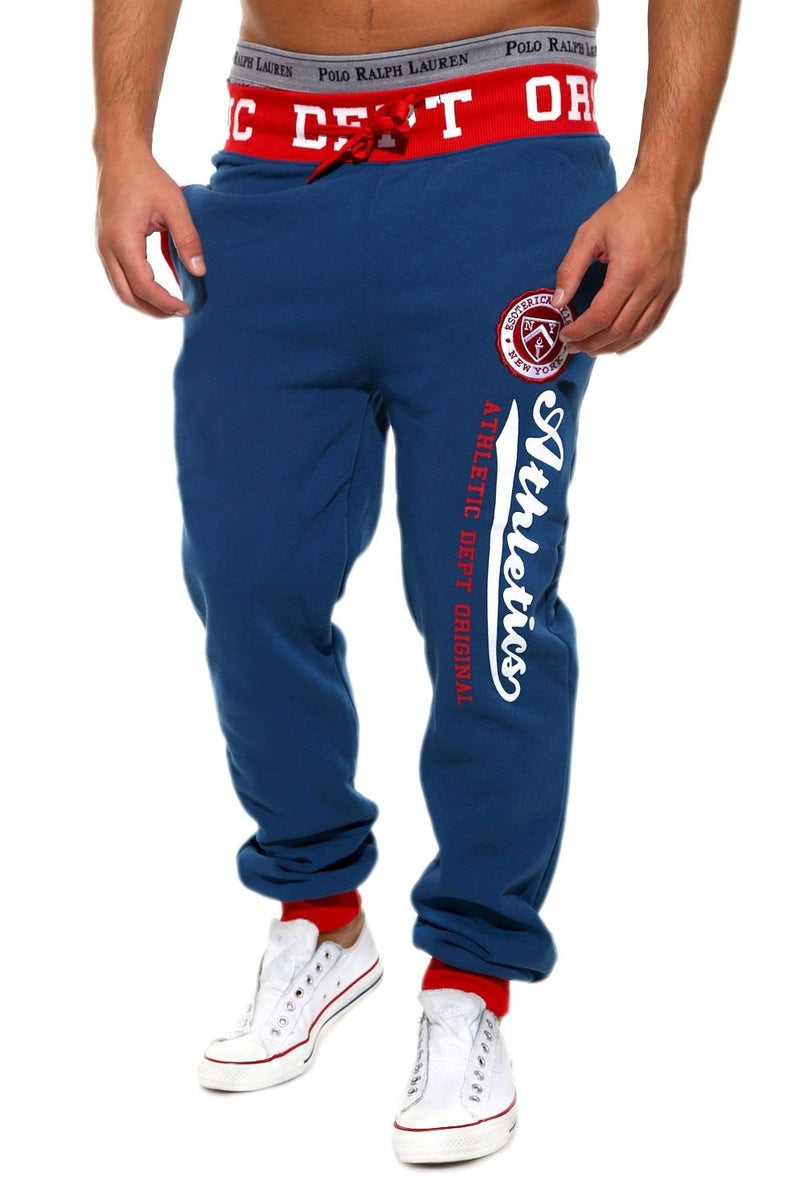 Men's Training Pants Sweatpants Blue-Red 49