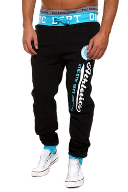 Men's Training Pants Sweatpants Black-Blue 49