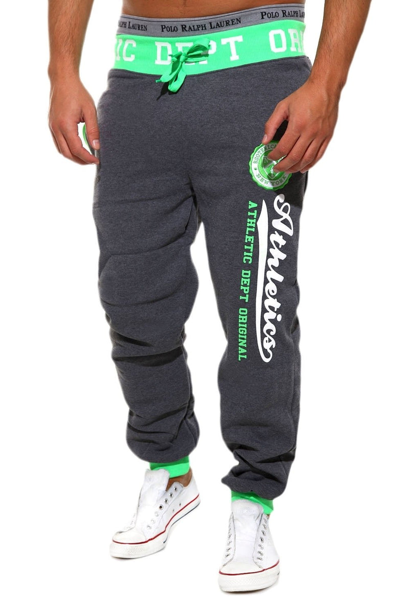 Men's Training Pants Sweatpants Darkgrey-Green 49