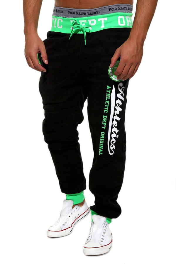 Men's Training Pants Sweatpants Black-Green 49