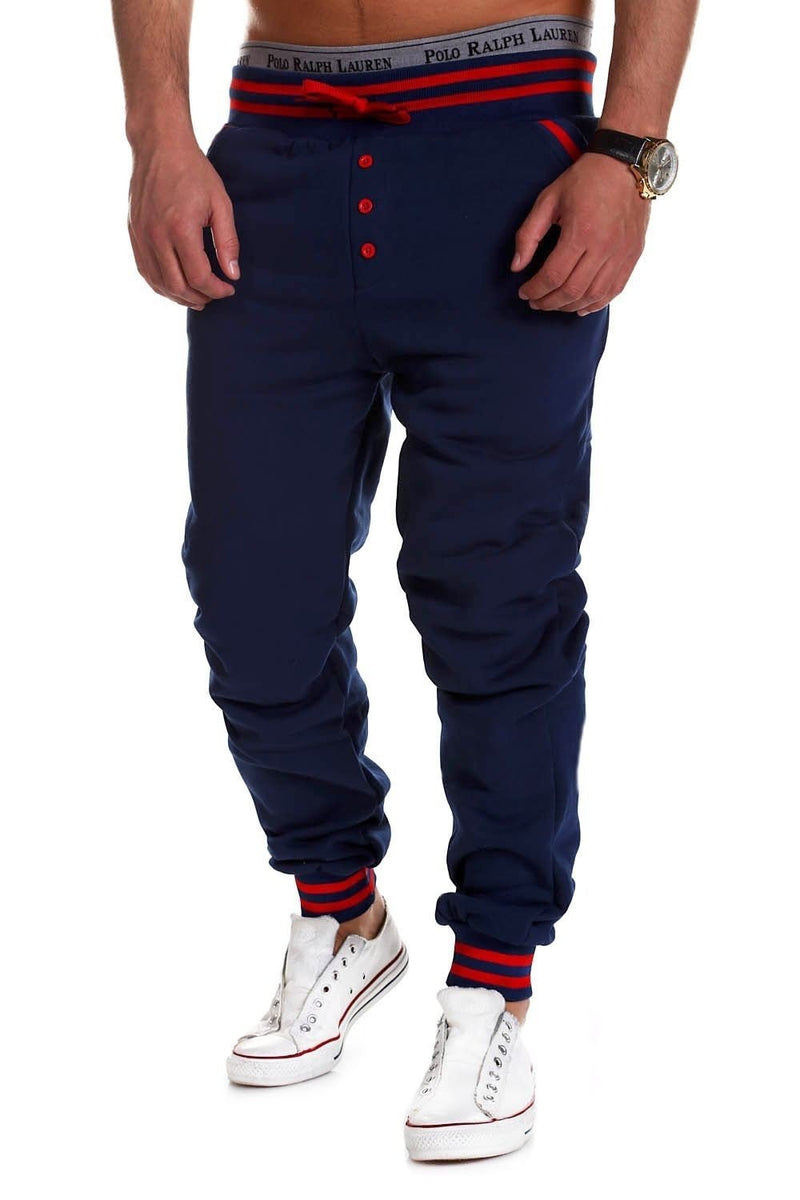Men's Training Pants Sweatpants Navy-Red 53