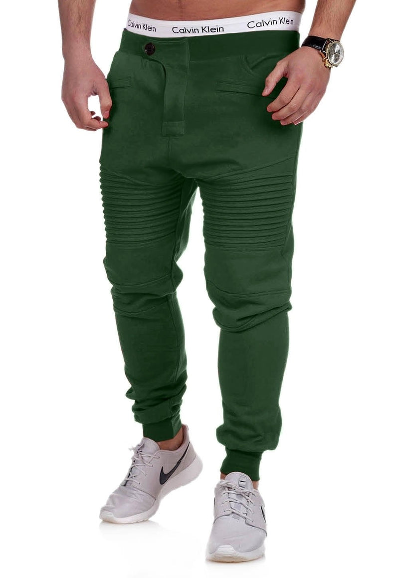 Men's Biker Track Pants Sweatpants Green/Military 2070