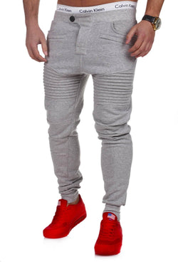 Men's Biker Track Pants Sweatpants Grey 2070