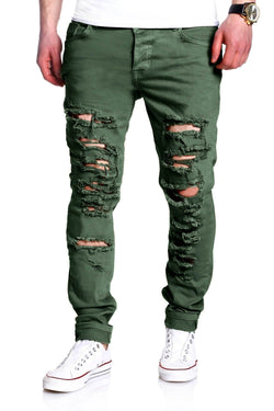 Men's Denim Jeans Destroyed Green/Military 2094