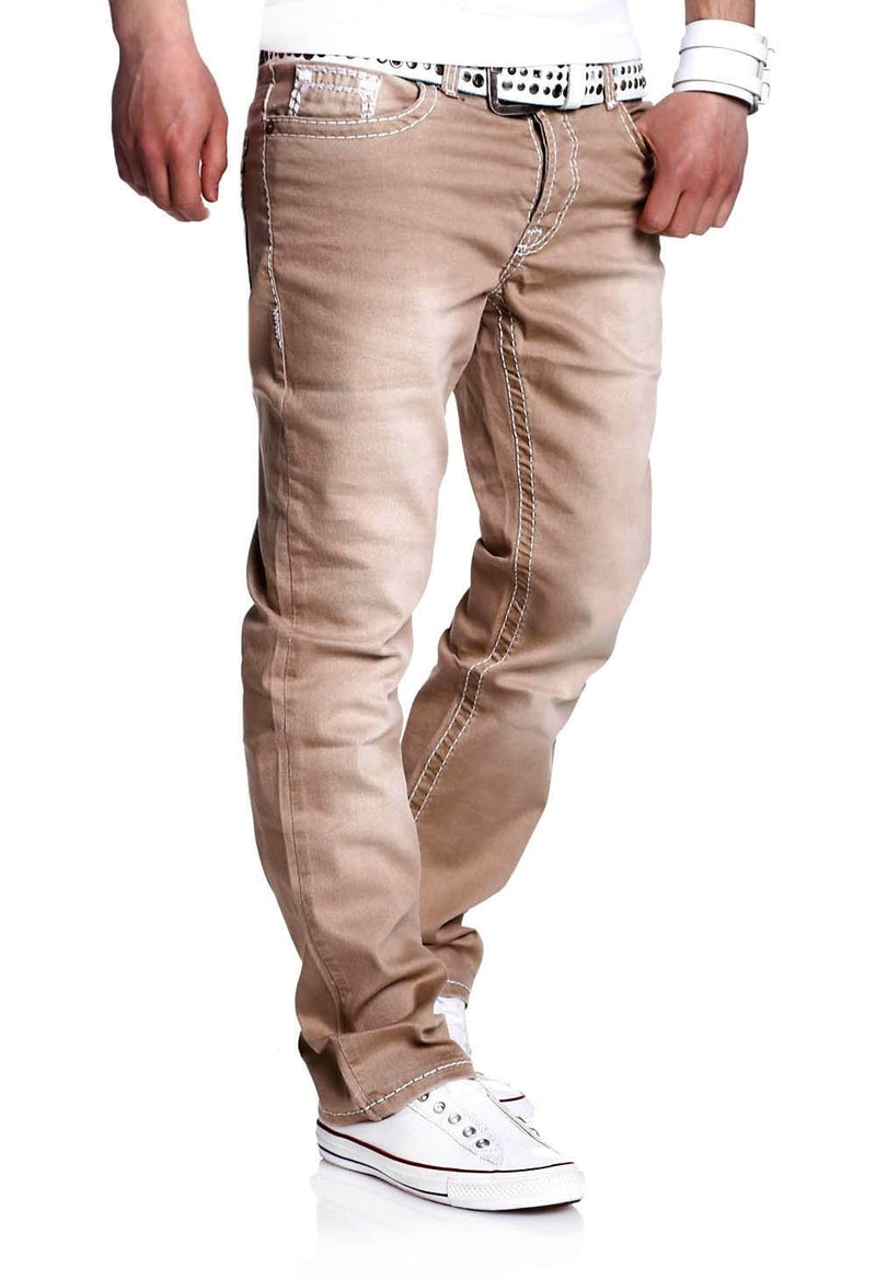 Men's Denim Jeans Straight Beige 133