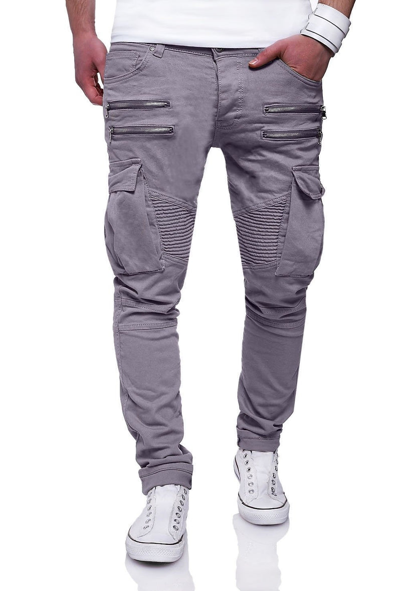 Men's Biker Jeans with Zippers Grey 3196