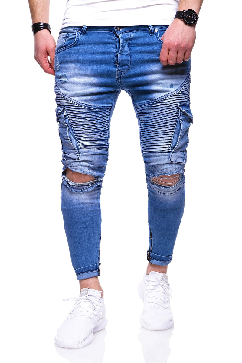Men's Biker Cargo Jeans Destroyed Blue 3101