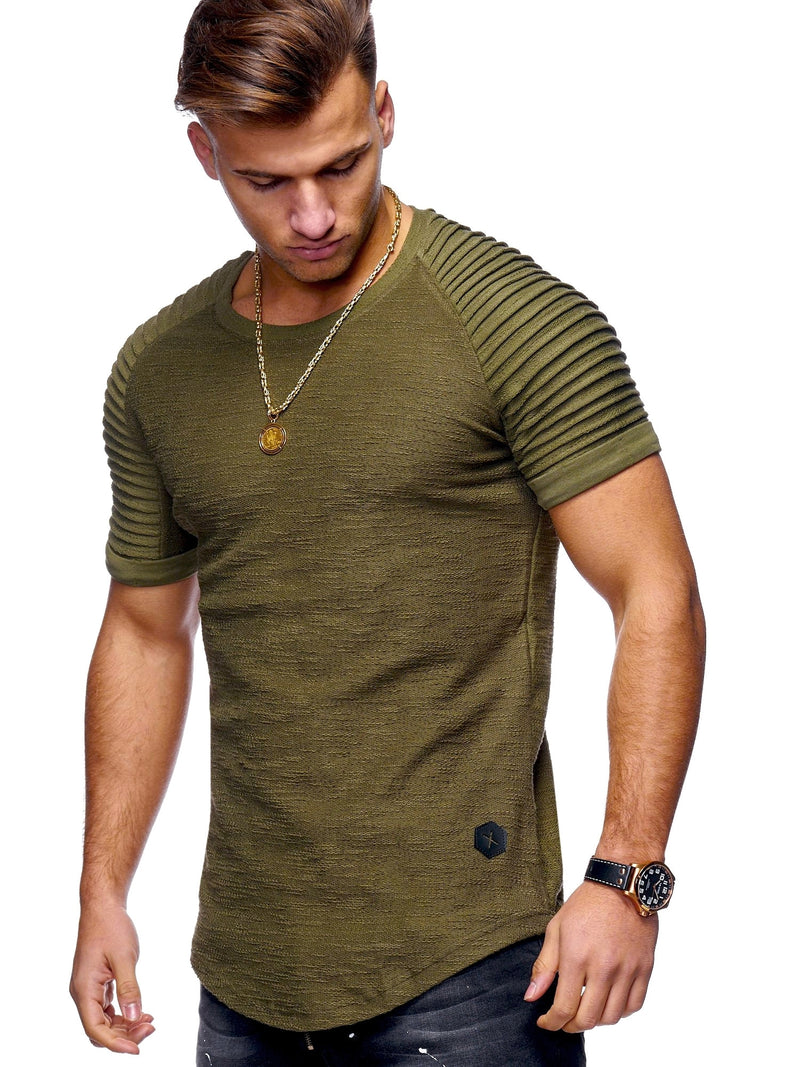 Men's Overzise Biker T-Shirt Muscle Tee Green/Military 7101