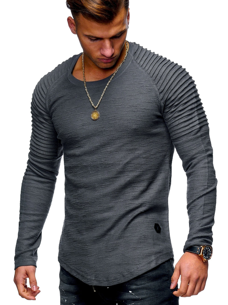 Men's Oversize Biker Sweater Jumper Sweatshirt Darkgrey 7311