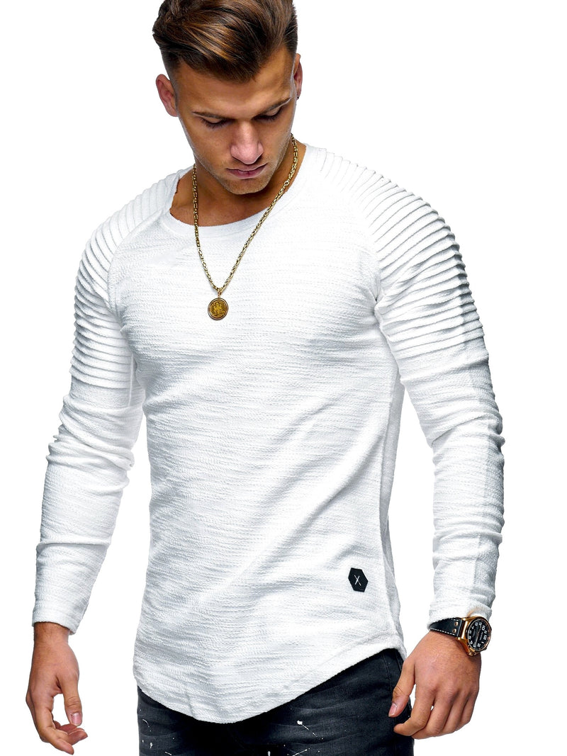 Men's Oversize Biker Sweater Jumper Sweatshirt White 7311