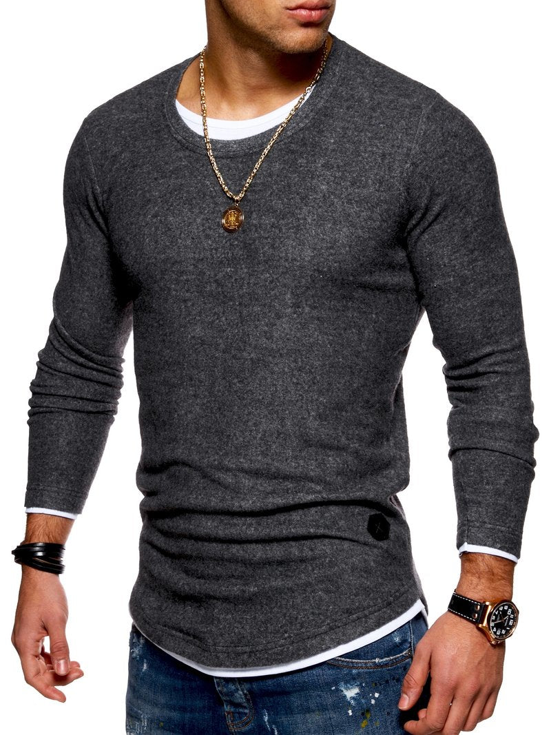Men's 2in1 Knit Sweater Muscle Tee DarkGrey 7323