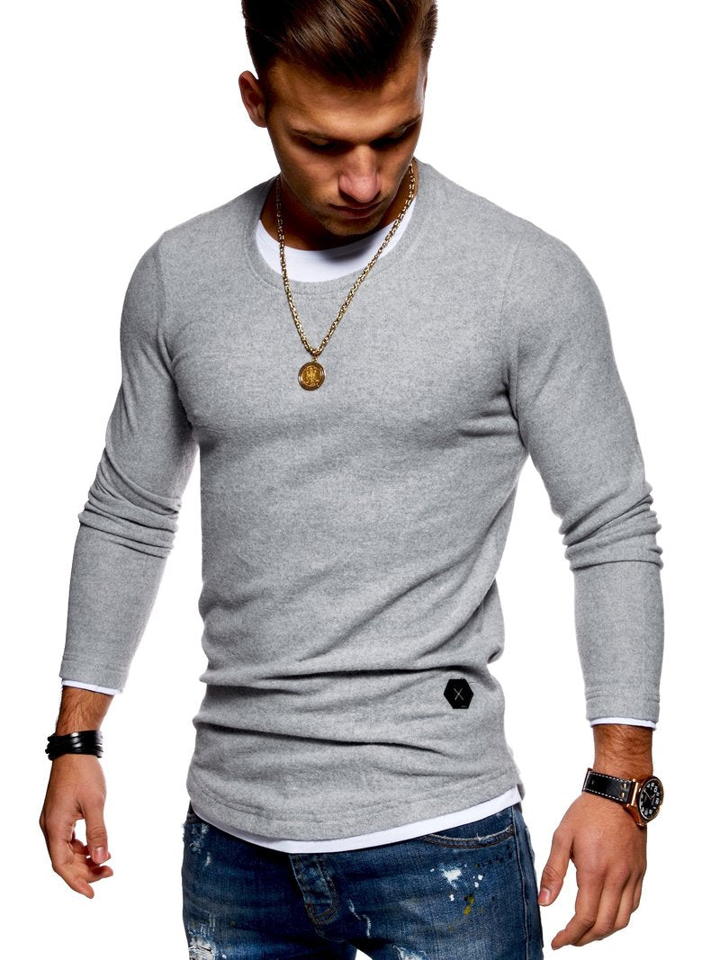 Men's 2in1 Knit Sweater Muscle Tee Grey 7323
