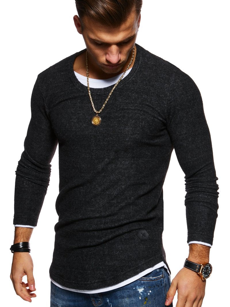 Men's 2in1 Knit Sweater Muscle Tee Black 7323