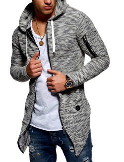 Men's Oversize Knit Cardigan with Hoodie Black 7532