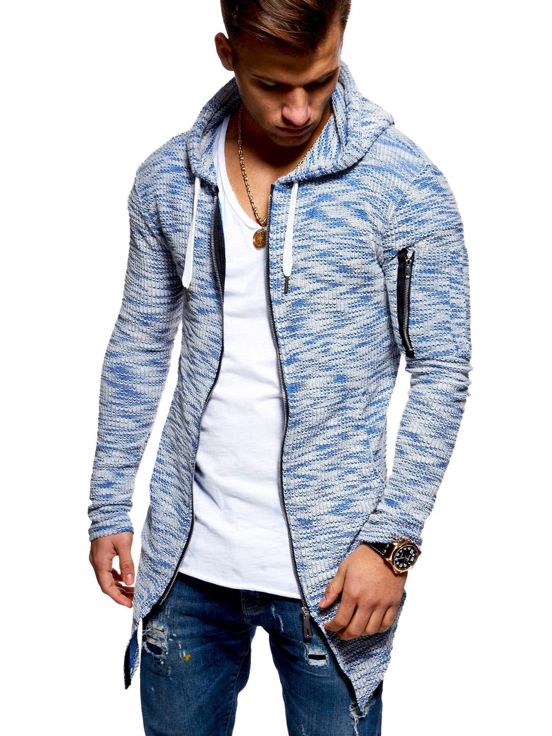 Men's Oversize Knit Cardigan with Hoodie Blue 7532