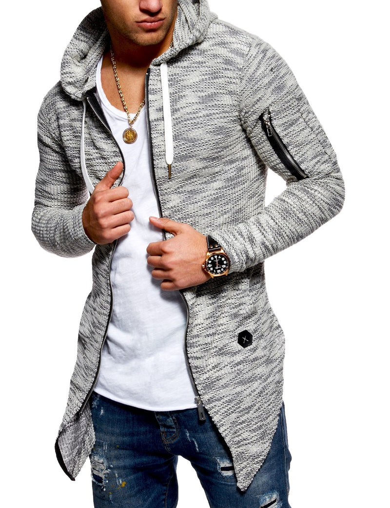 Men's Oversize Knit Cardigan with Hoodie Grey 7532