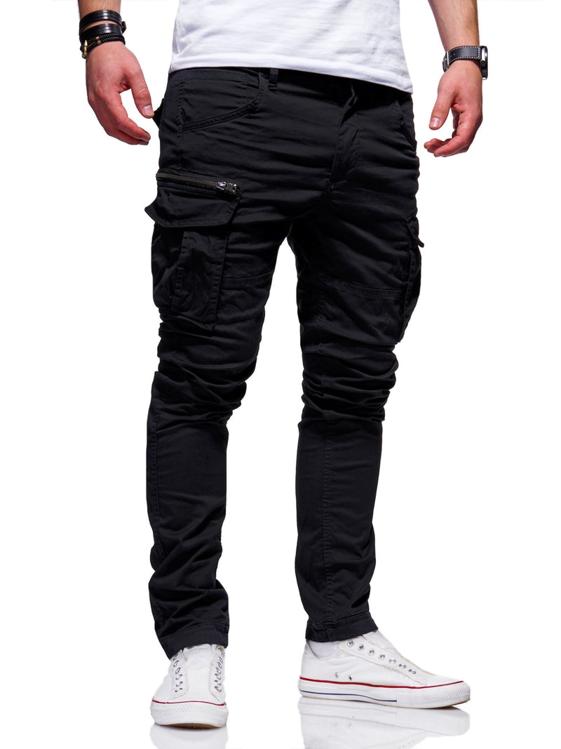 Men's Jack & Jones Cargo Jogger Pants Black Paul CHOP