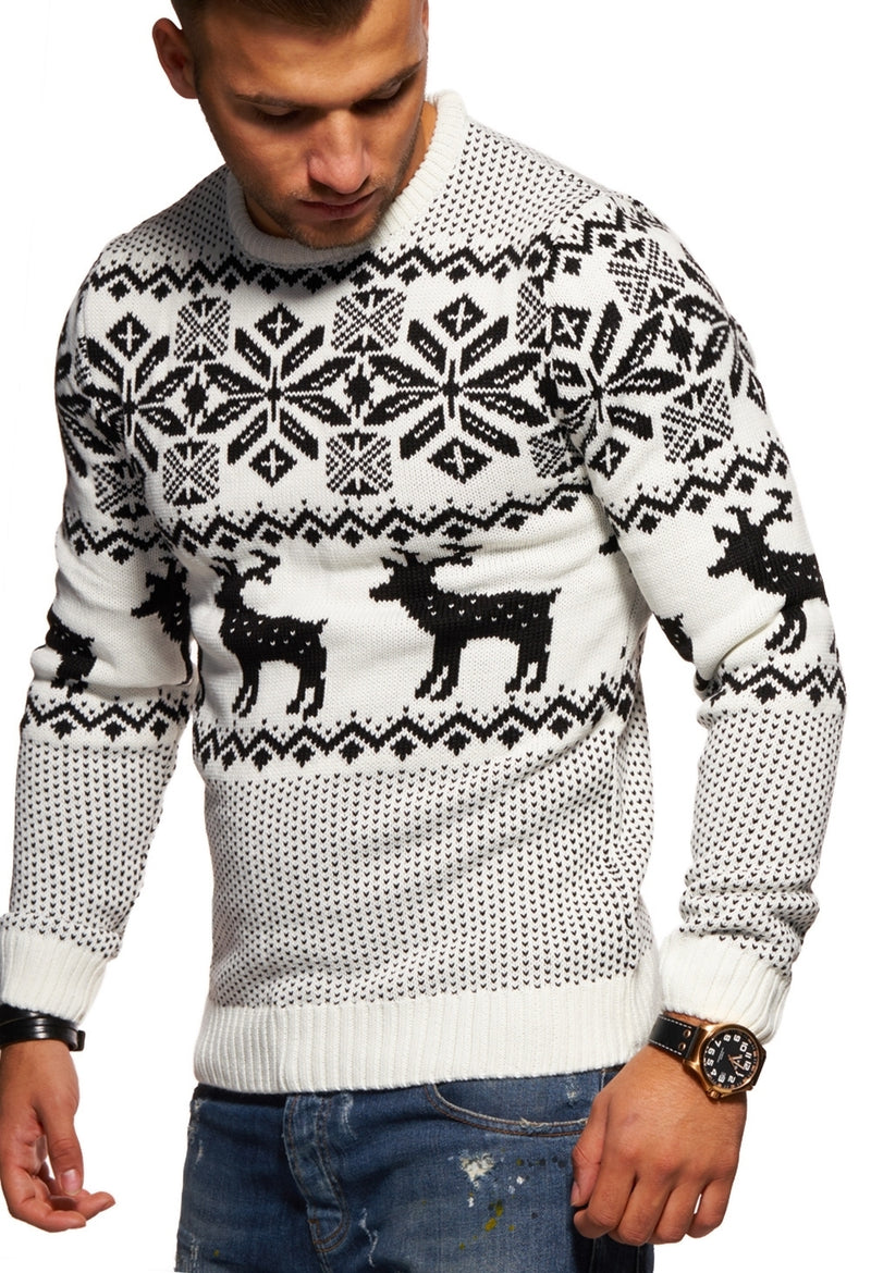 Men's Knit Sweater White RS-1048