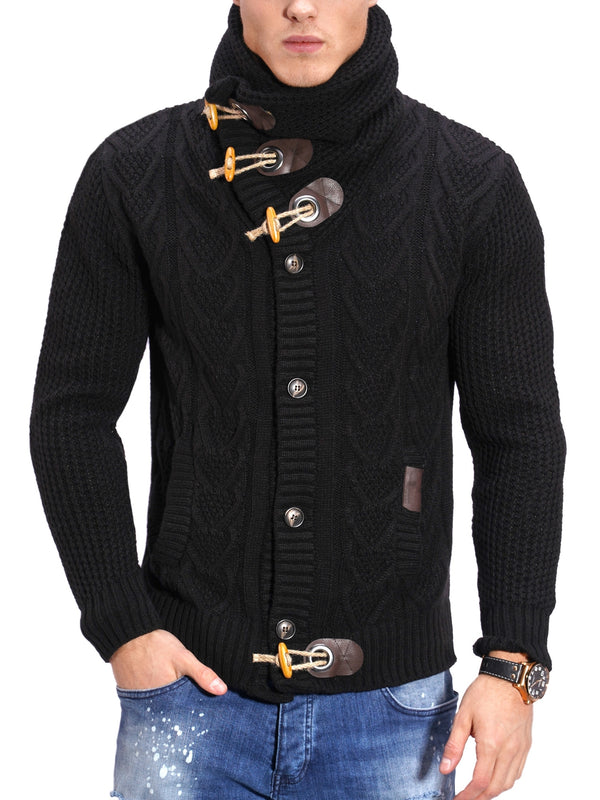 Men's Knit Sweater Jumper Black MT-7705