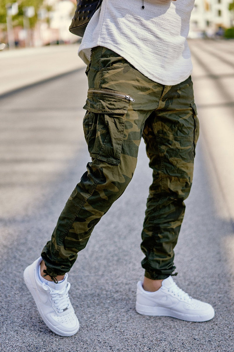 Men's Jack & Jones Cargo Jogger Pants Camouflage Paul CHOP