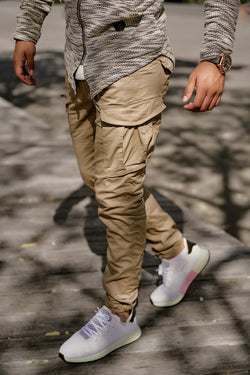 Men's Jack & Jones Cargo Jogger Pants Beige Paul CHOP