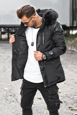 Men's Winter Parka Jacket Black PH-1706