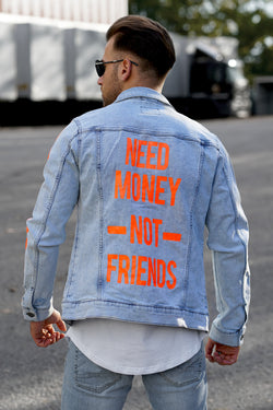 Men's Denim Jacket NMNF Blue/Orange M-4659