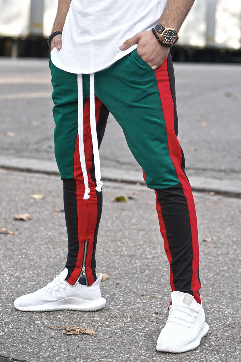 Men's Track Pants Sweatpants in Contrasting Colors Green 5049