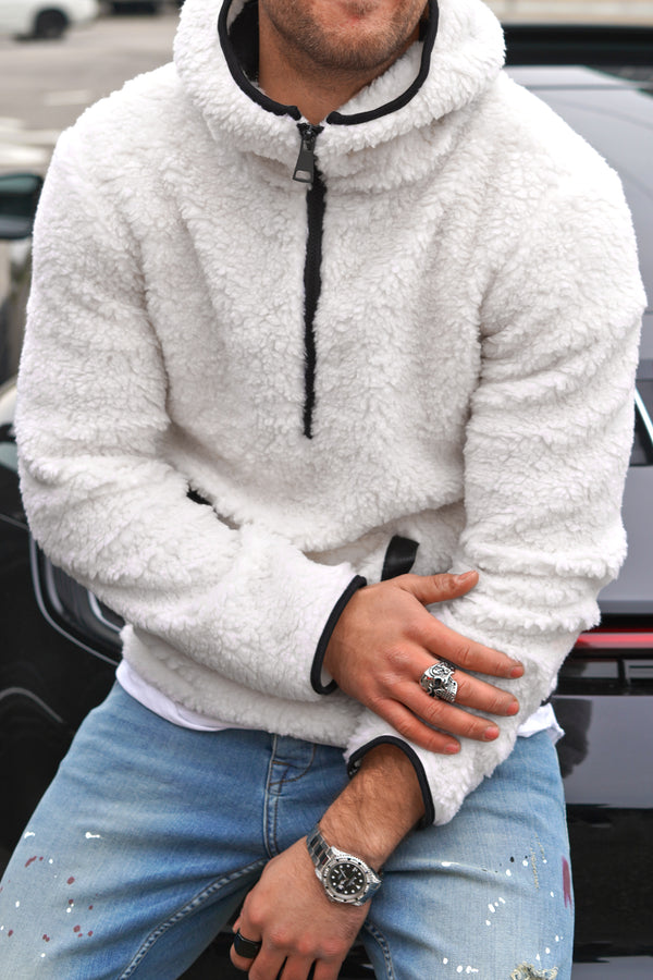 Men's Teddy Fleece Hoodie with 1/4 Zip Teddy-Fur Jacket White 92028