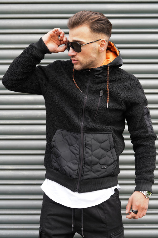 Men's Teddy Fleece Jacket with Hoodie Black 21164