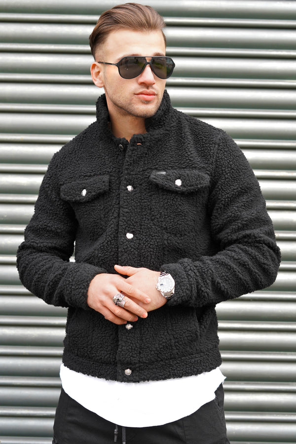 Men's Teddy Fleece Jacket Black 21162
