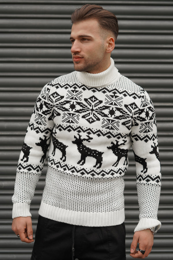 Men's Knit Sweater White RS-1049