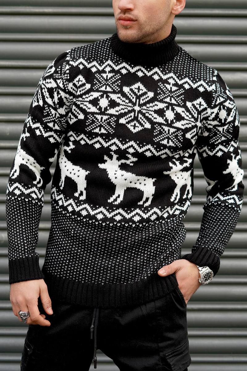 Men's Knit Sweater Black RS-1049