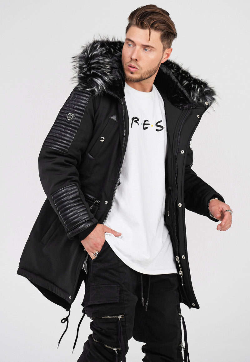Men's Winter Parka Jacket Black PH-019