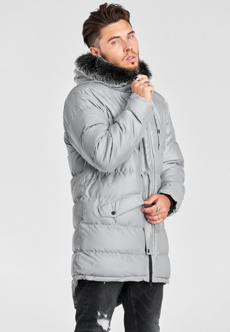 Men's Winter Parka Jacket REFLECTIVE Silver