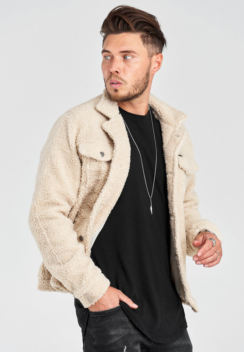 Men's Teddy Fleece Jacket Beige 21163