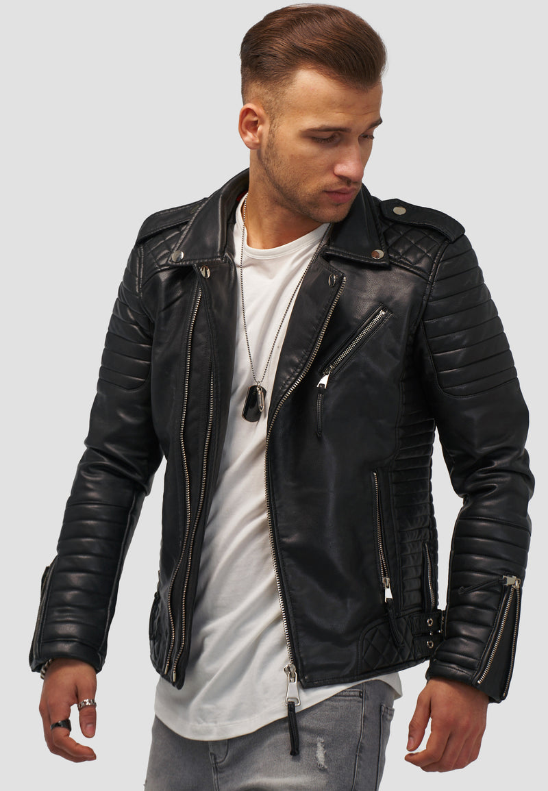 Men's PU Jacket Faux Leather Black MT-88