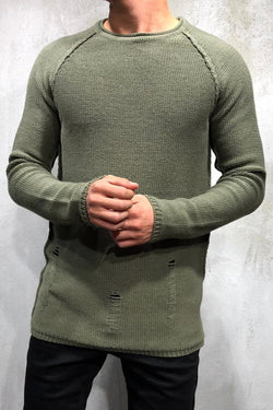 Men's Knit Sweater Pullover Destroyed Green/Military 7026