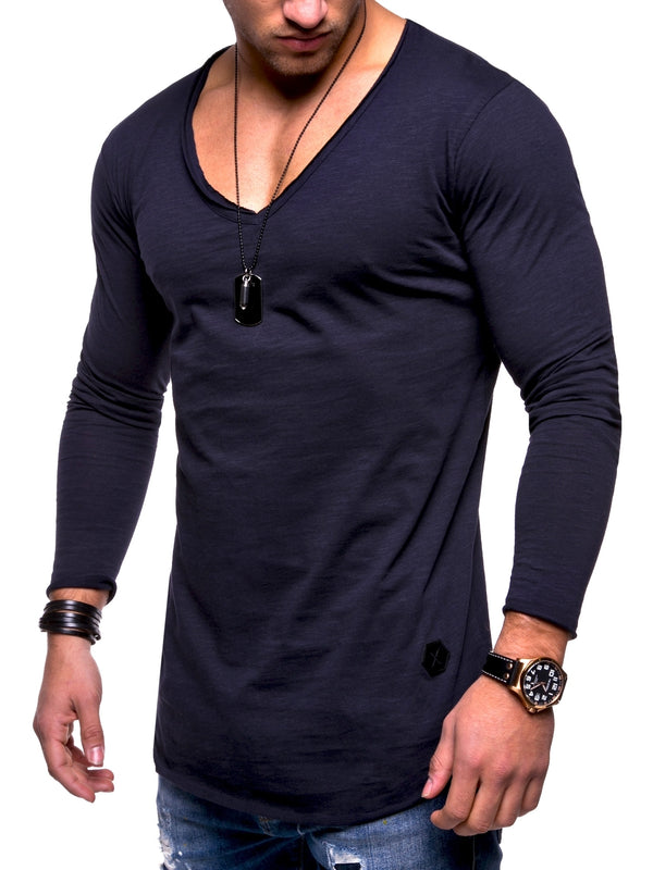 Men's Oversize Longsleeves Muscle Tee V-Neck Navy 7314