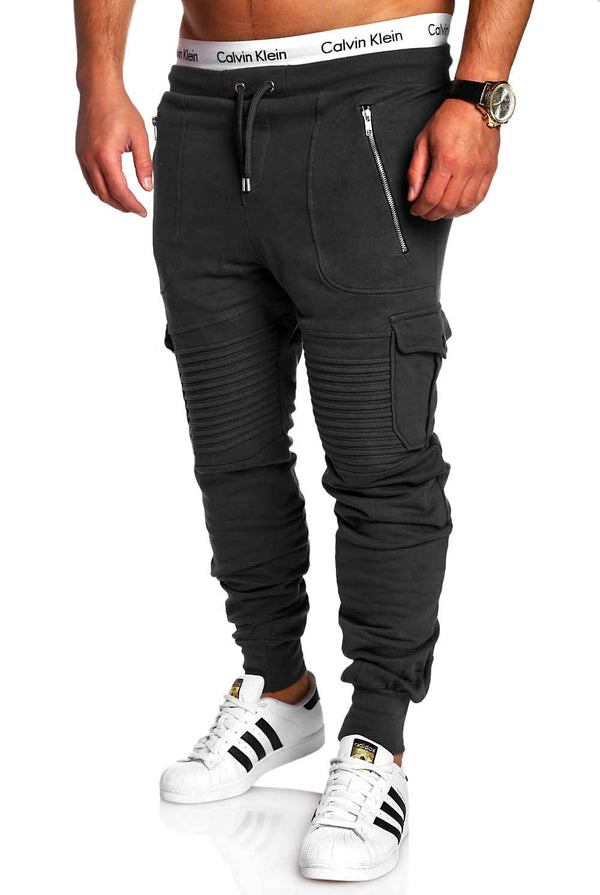 Men's Biker Cargo Track Pants Sweatpants Black 2134