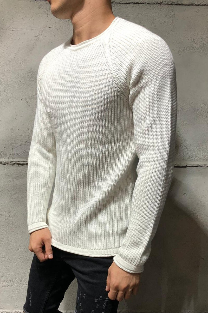 Men's Knit Sweater Pullover White 7019