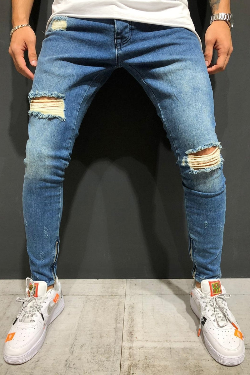 Men's Denim Jeans Destroyed Skinny Fit Blue 4154